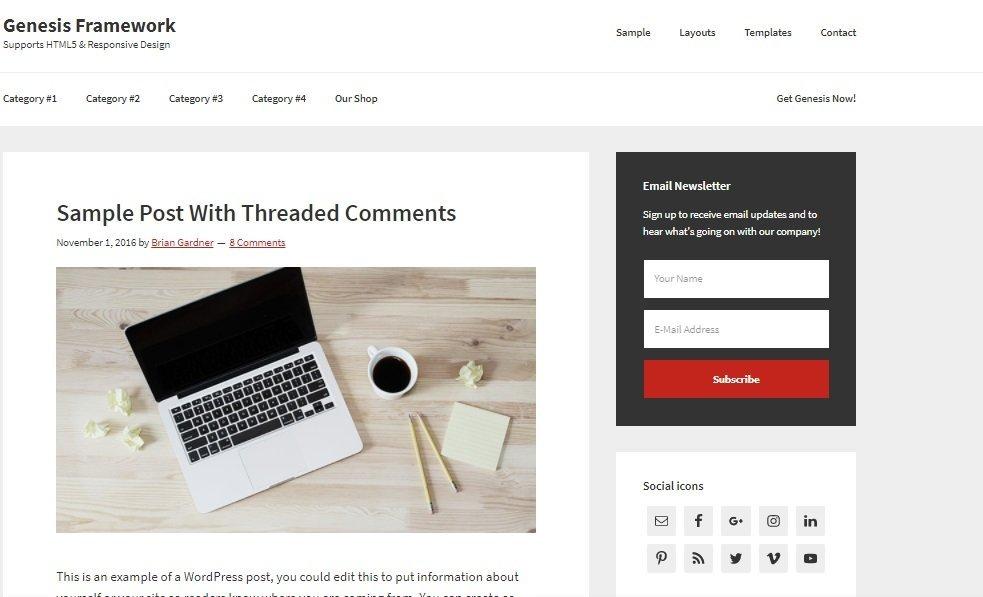 Plantilla WordPress Genesis Framework MarTech Forum